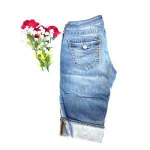 True Religion NWT Knee Length Jean Shorts 29